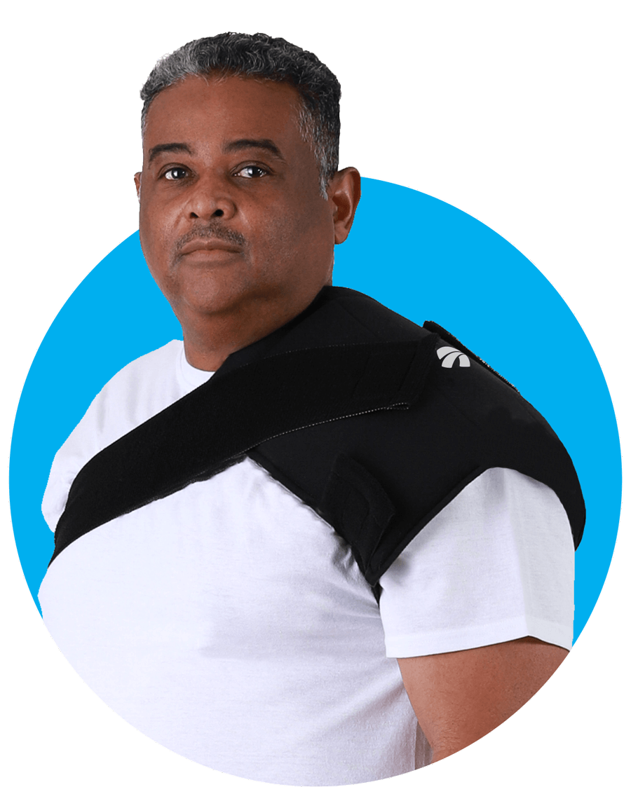 Patient Wearing SMI Shoulder Cold Therapy Wrap