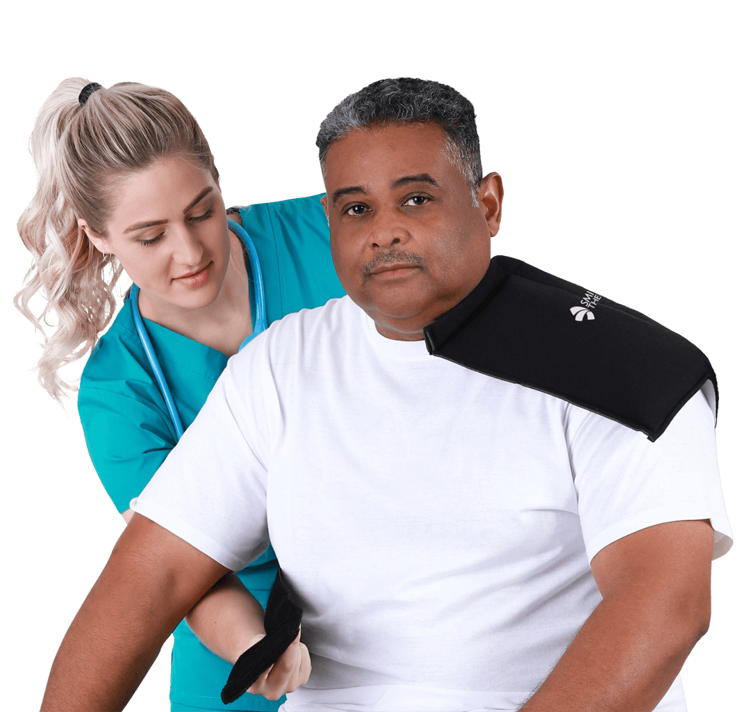 Nurse applying an SMI Shoulder Wrap
