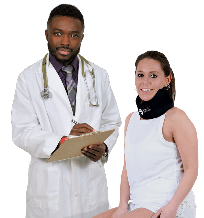 Doctor and Patient Wearing a SMI Neck Wrap